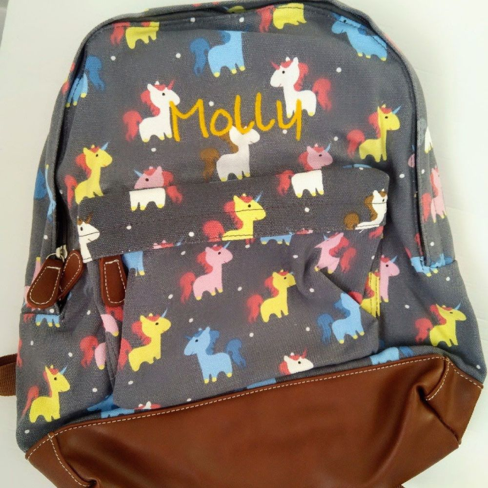 Personalised Unicorn Backpack Rucksack - grey