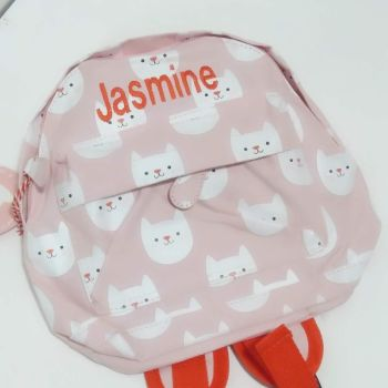 Personalised Child's Pink Mini Cat themed Backpack