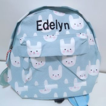 Personalised Child's Mini Blue Bunny Backpack