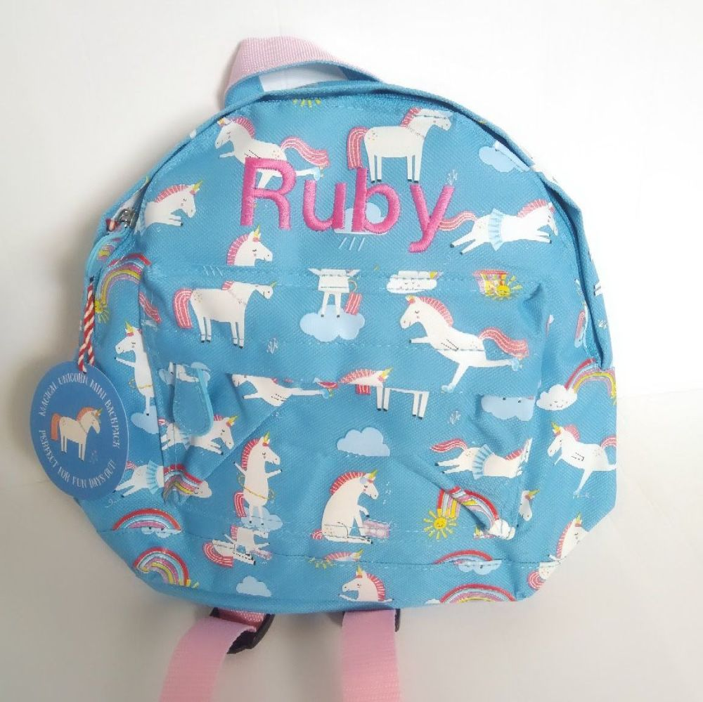 Personalised Child's Mini Unicorn themed Backpack - ideal for nursery, scho