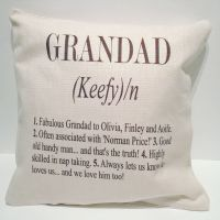 Personalised Grandad Linen Style Cushion