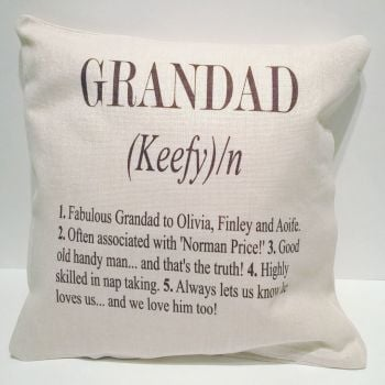 Personalised Grandad Linen Style Cushion