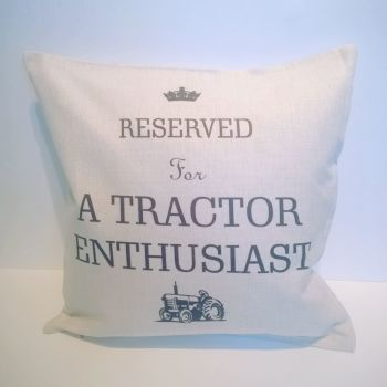 Reserved for A Tractor Enthusiast Linen Cushion