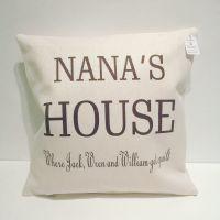 Nana's House personalised cushion from grandchildren