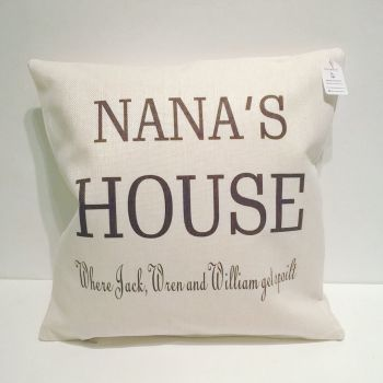 Nana's House personalised cushion from grandchildren
