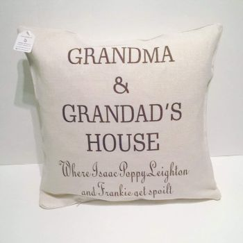 Grandma and Grandad's House personalised cushion from grandchildren
