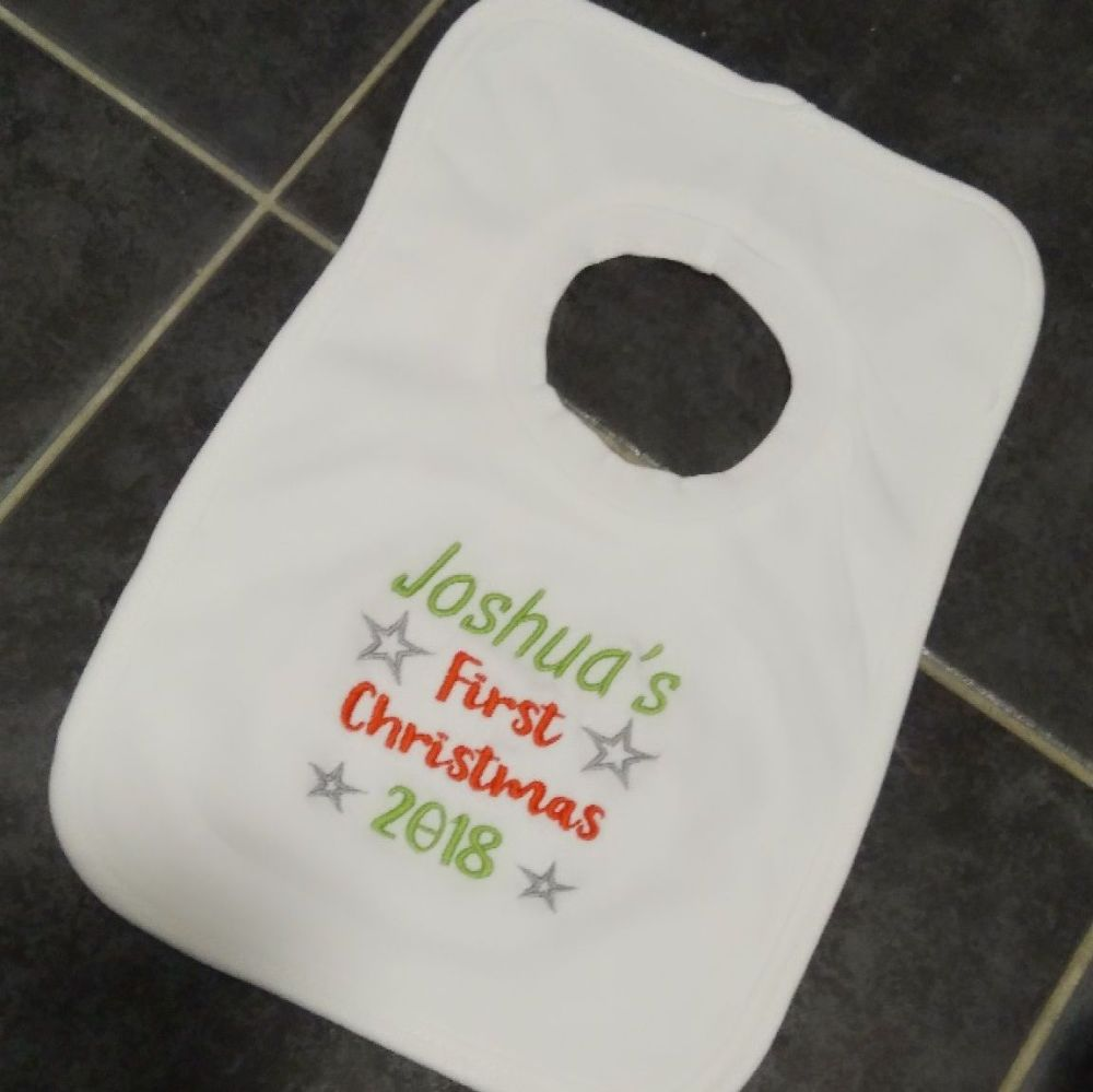 Personalised First Christmas pop over bib