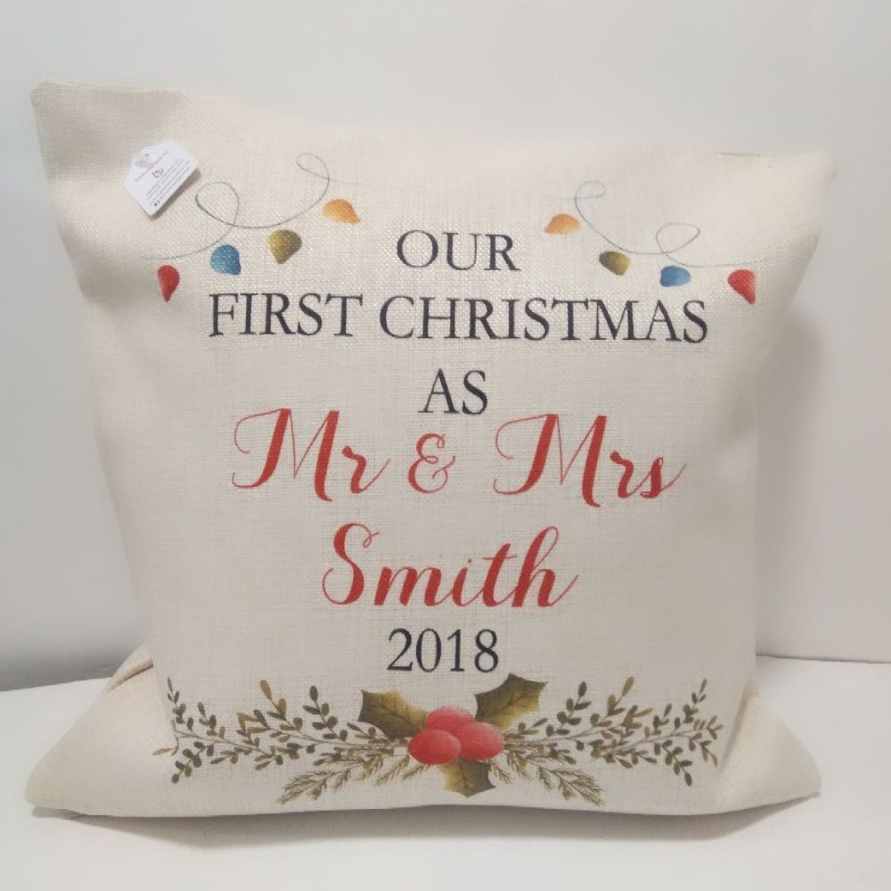 First Christmas as Mr and Mrs Cushion by Imprint Products | First Christmas