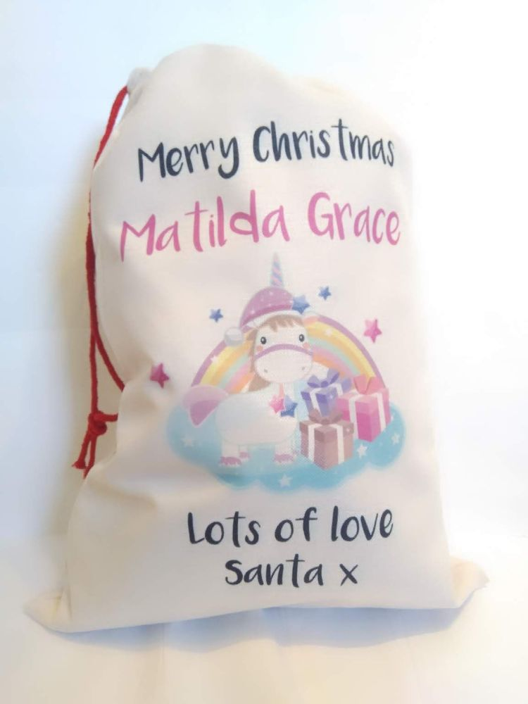 Cute Magical Unicorn Linen Santa Sack by Imprint Products