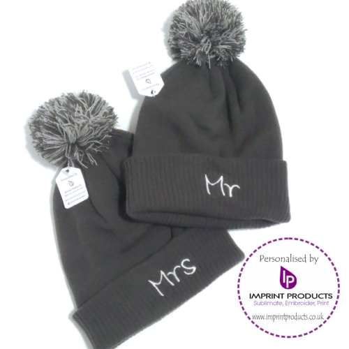 42b9d5cde0f Mr and Mrs Beanie Bobble Hats by Imprint Products