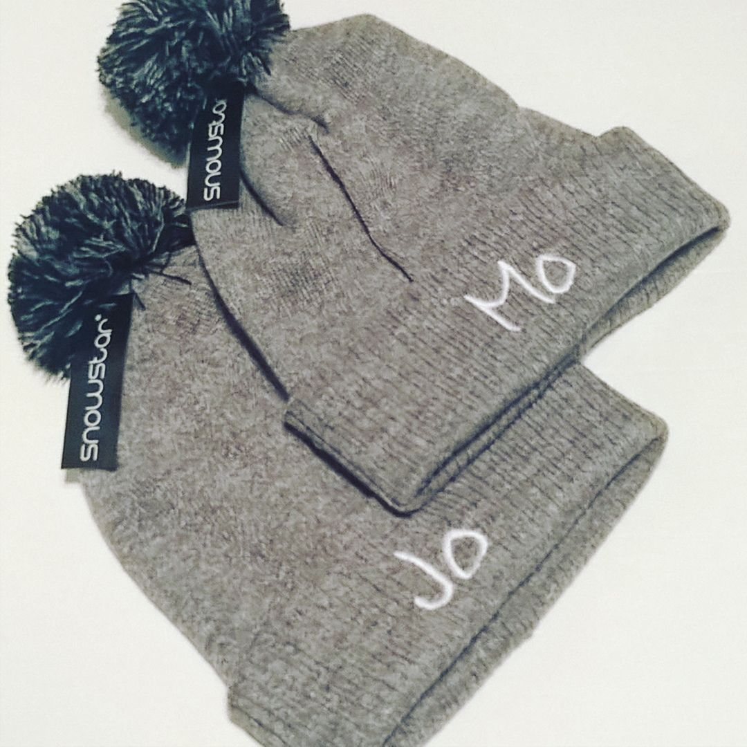 Adult Personalised Beanie Bobble Hats (design your own)