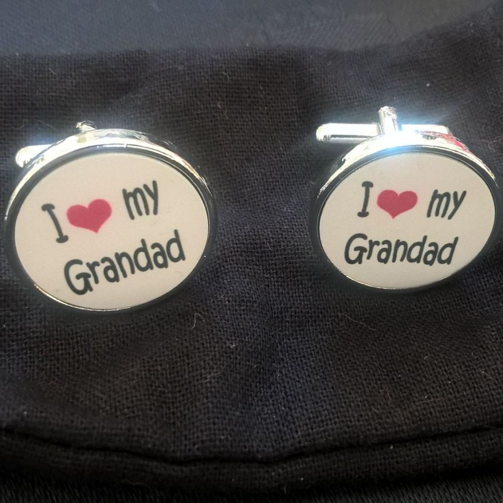 I love my Grandad cufflinks - round