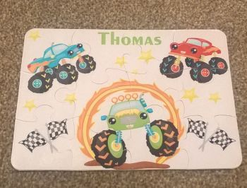 Personalised Monster Truck themed jigsaw - 12 or 63 pieces
