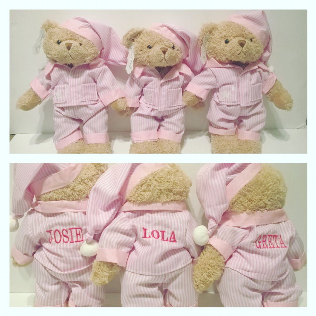 Pink Stripe Pyjamas Teddy Bear