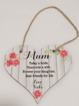 Mother of the Bride Personalised Hanging Plaque
