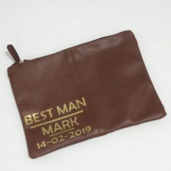 Men's Brown PU Leather Personalised Accessory Case