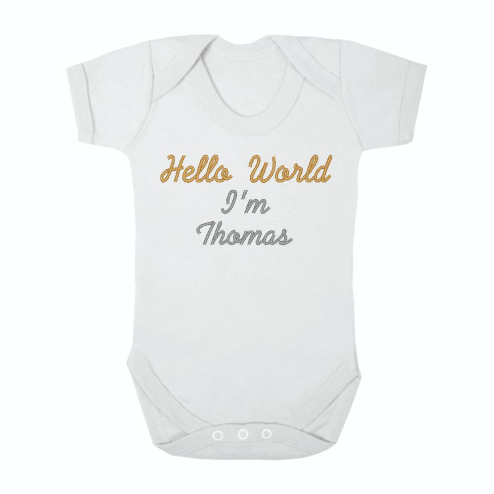 Hello World Unisex Baby Grow Bodysuit | Welcome to the World Baby vest | Un