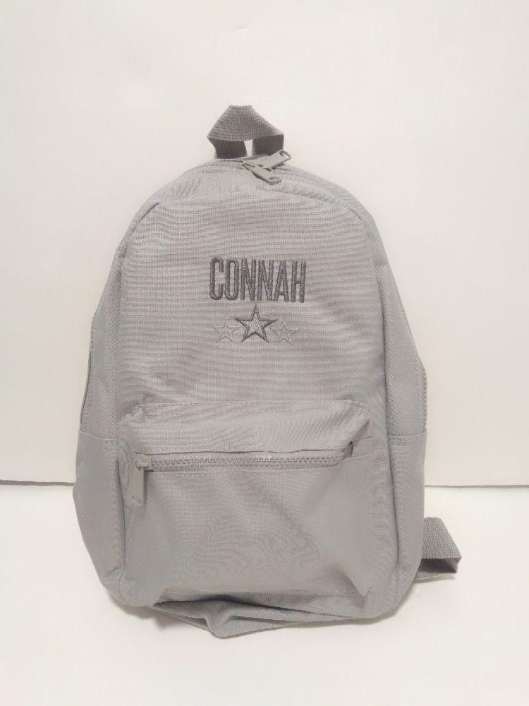 Grey Mini Fashion Backpack | Personalised Boys School Bag