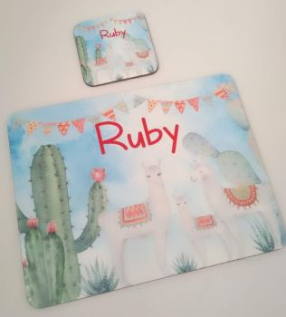 Personalised Llama Placemat and Coaster set