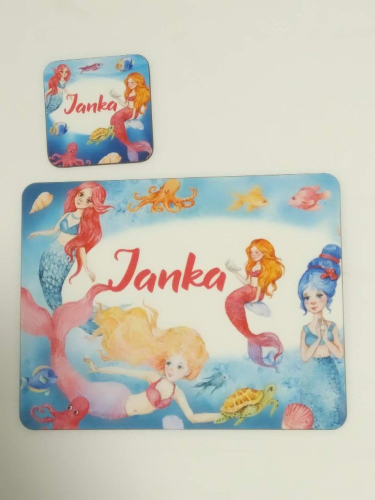Personalised Mermaid Place mat and Coaster set