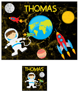 Personalised Space Themed Place mat and Coaster set