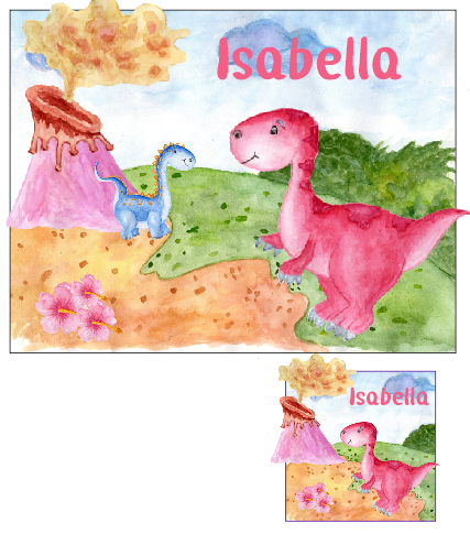 Personalised Pink Dinosaur Place mat and Coaster set