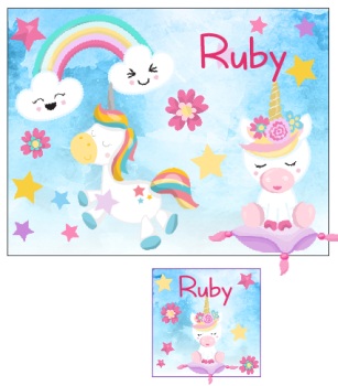 Personalised Unicorn Place mat and Coaster set