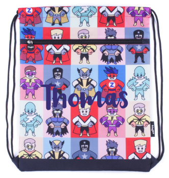 Personalised Superhero Drawstring Bag