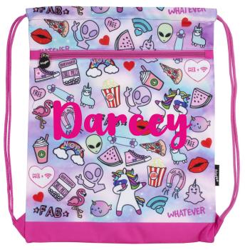 c74719153008 Personalised Pink Doodle Drawstring Bag