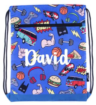 Personalised Blue Doodle Drawstring Bag
