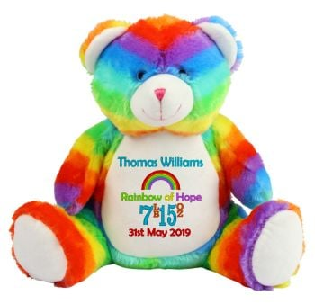 Rainbow Baby Personalised Teddy Bear