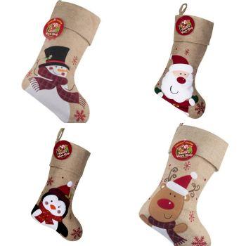 Luxury Personalised Hessian Style Christmas Stockings