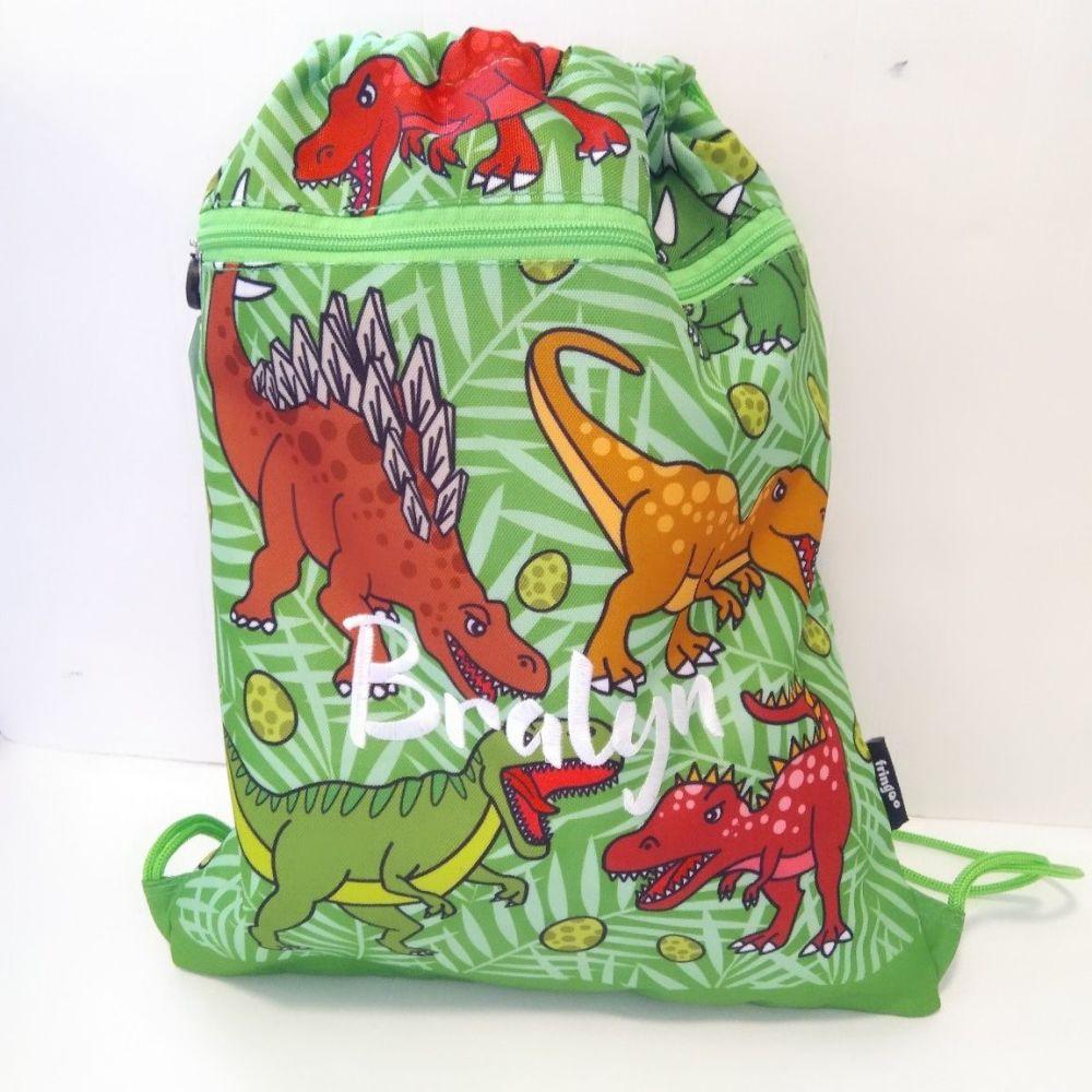 Personalised Dinosaur Drawstring Bag