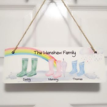 Personalised Family Wellington Boot Hanging Plaque Sign