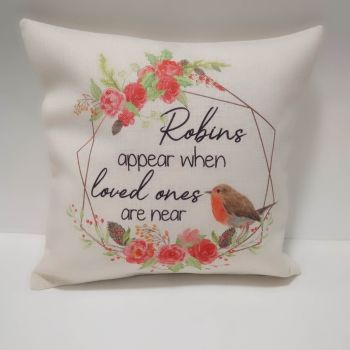 Robins Appear When Loves Ones are Near Cushion