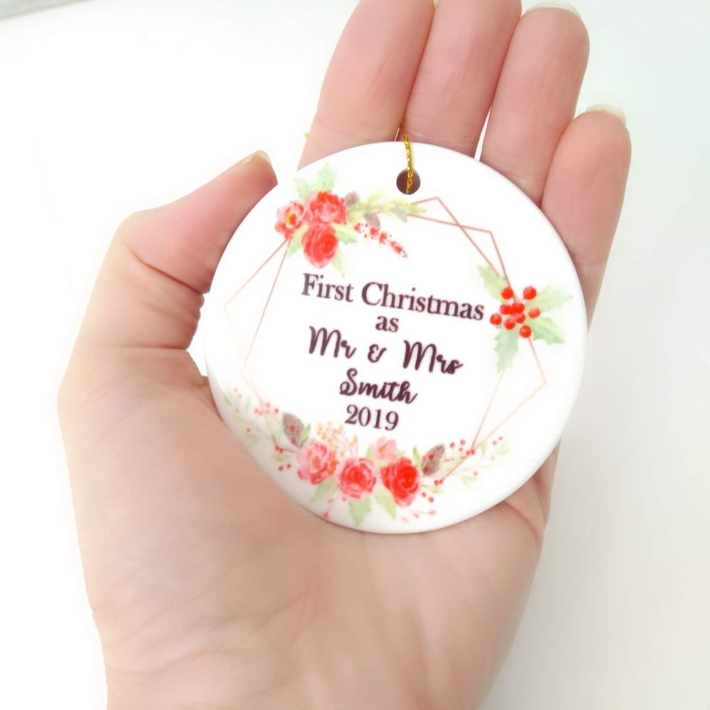 First Christmas and Mr and Mrs Hanging Tree Decoration Bauble