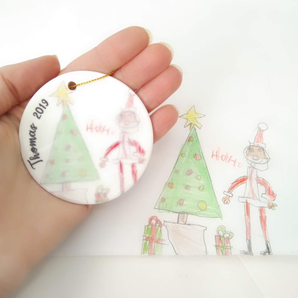 Child's drawing personalised Christmas Tree Decoration Bauble