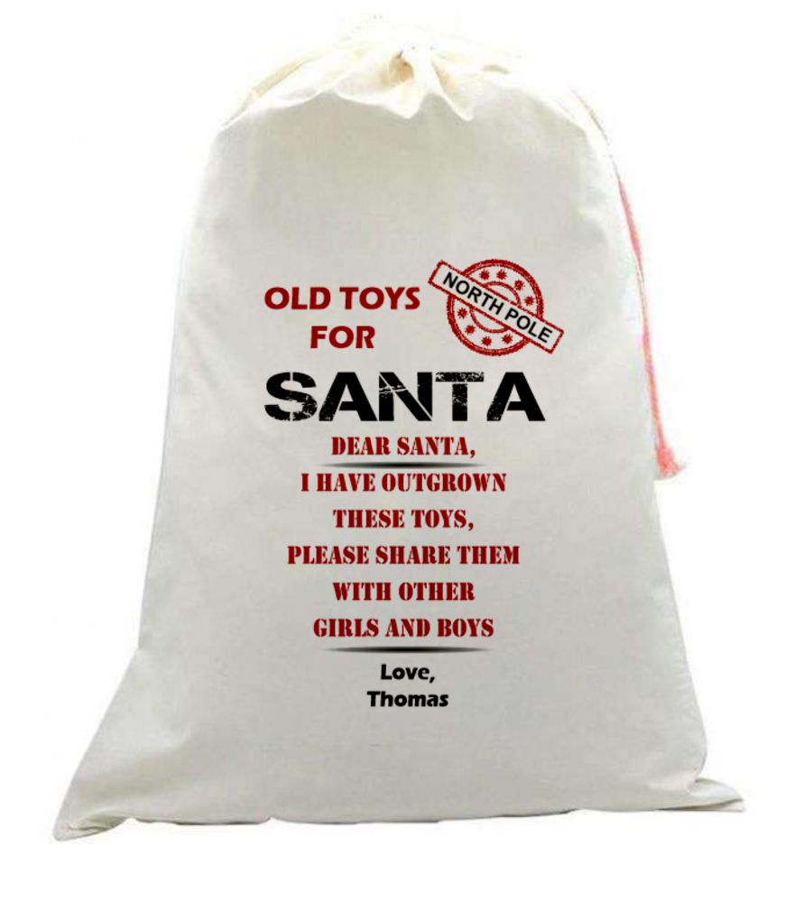 Old Toys for Santa Linen Style Sack