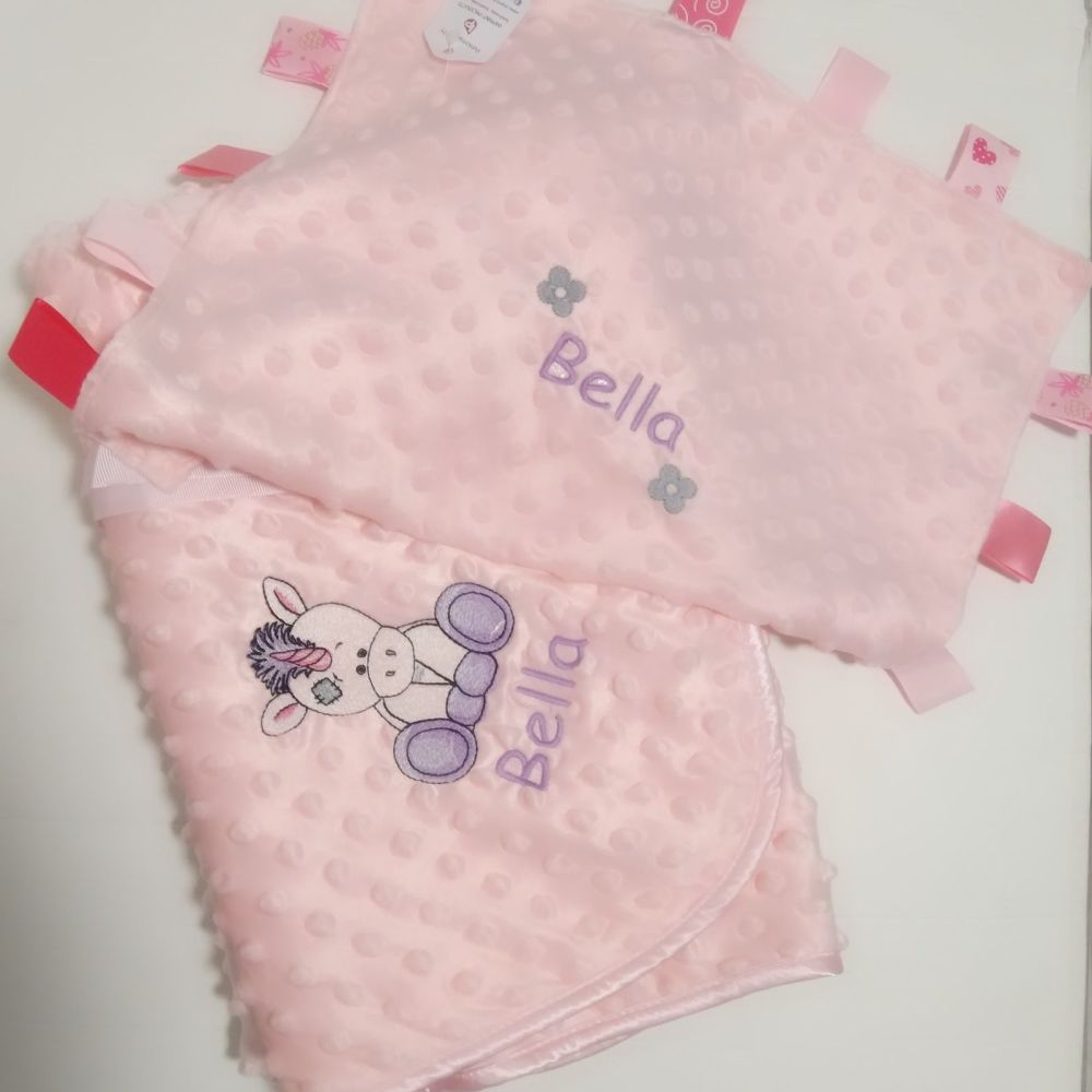 Personalised Unicorn Baby Bubble Blanket and Comforter Set | New Baby Girl