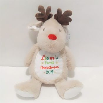 Personalised First Christmas Reindeer Soft Toy