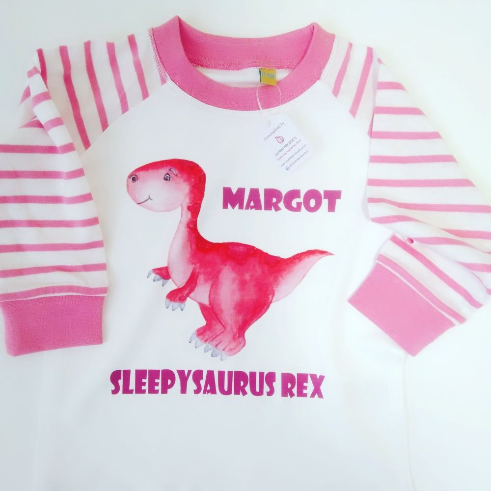 Pink Personalised Dinosaur Pyjamas | Girls Dinosaur PJ's