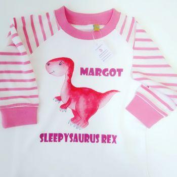 Pink Personalised Dinosaur Pyjamas