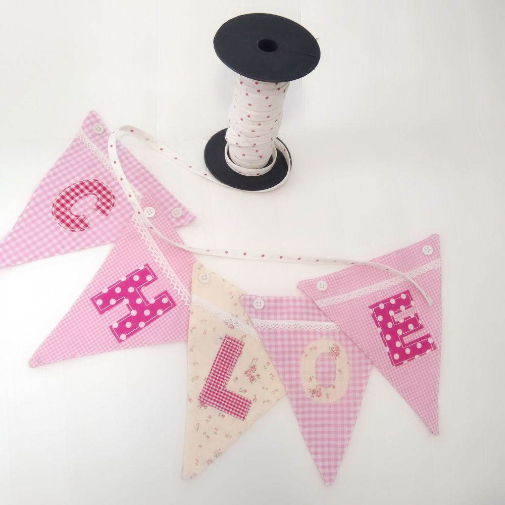 Personalised Girls Fabric Bunting - Pink alphabet and flower flags available