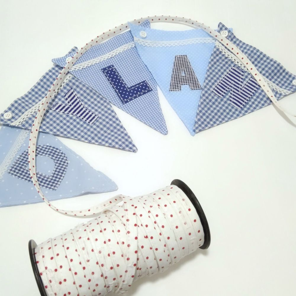 Personalised Boys Bunting - Blue Alphabet and boat flag available