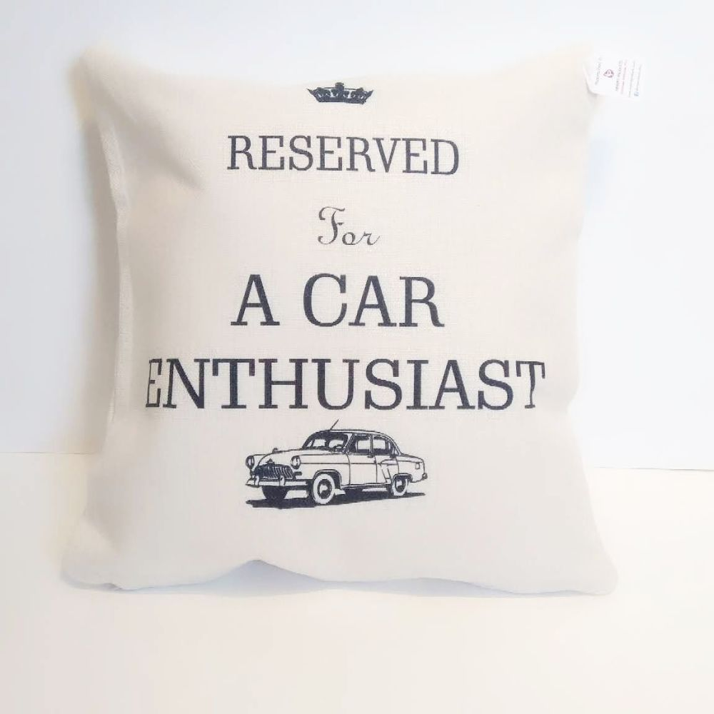 Reserved for A Car Enthusiast ...... Linen Cushion | Car Lovers Gift | Clas