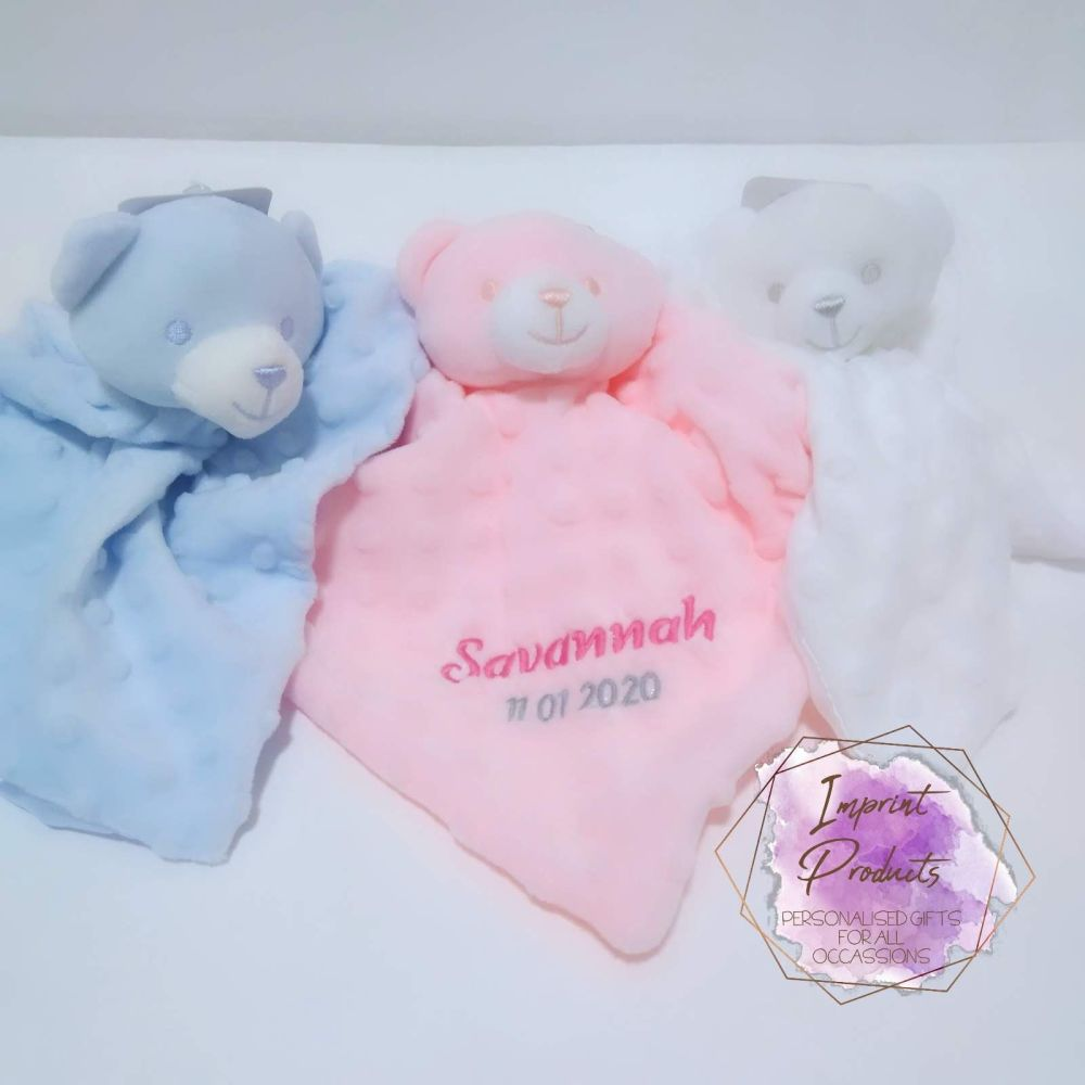 Personalised Bear Baby Comforter