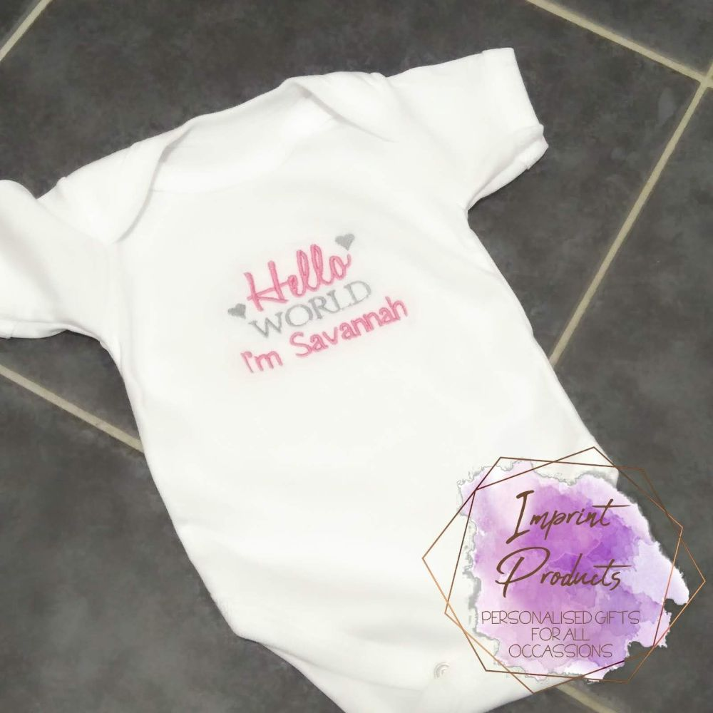 Hello World Personalised Baby Vest Bodysuit | Welcome to the World | New Ba