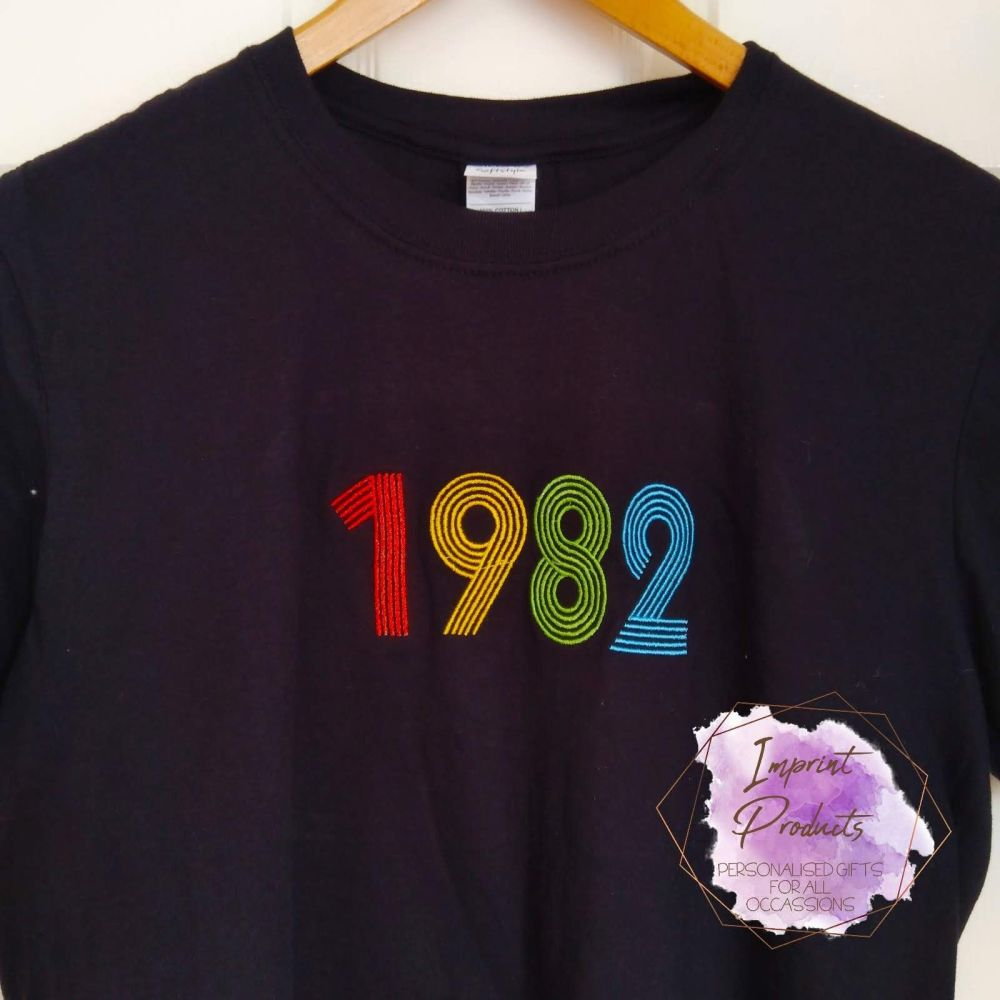 Retro Design Custom Year Embroidered T-Shirt | Custom Year Retro T-Shirt |