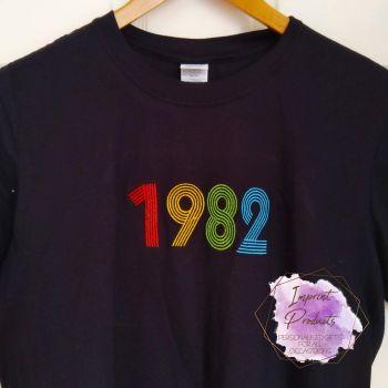 Retro Design Custom Year Embroidered T-Shirt