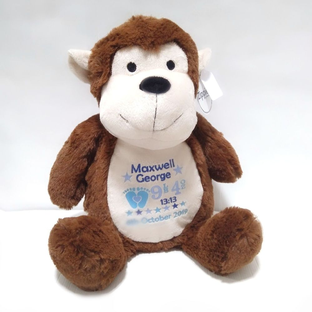 Personalised Monkey Teddy Soft Toy